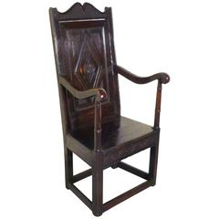 17th Century Carved Oak Wainscot Hall Chair