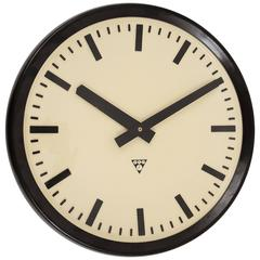 Huge Bakelite 1940s Industrial Train Station Wall Clock in Excellent Condition