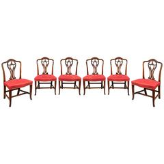 Set of Six George III Carved Dining Chairs