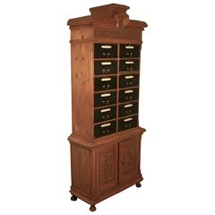 Tall French Barristers Box Filing Cabinet, Notaire'S Cartonniere