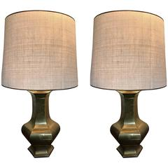 Pair of Brass Lamps, France, 1970s