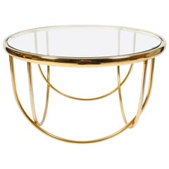 One of Two Beautiful Entwined Globe Cocktail Table Brass Glass, France, 1970