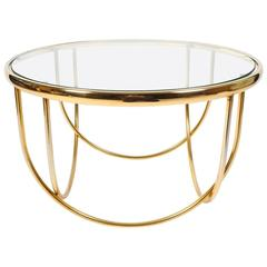 Beautiful Entwined Globe Cocktail Table Brass Glass, France, 1970