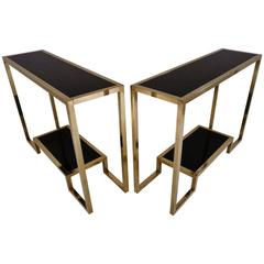 Pair of Brass Console Tables with Black Lacquer Guy Lefevre, French