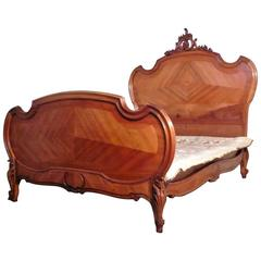 Louis XV Style French Golden Walnut King Size Bed