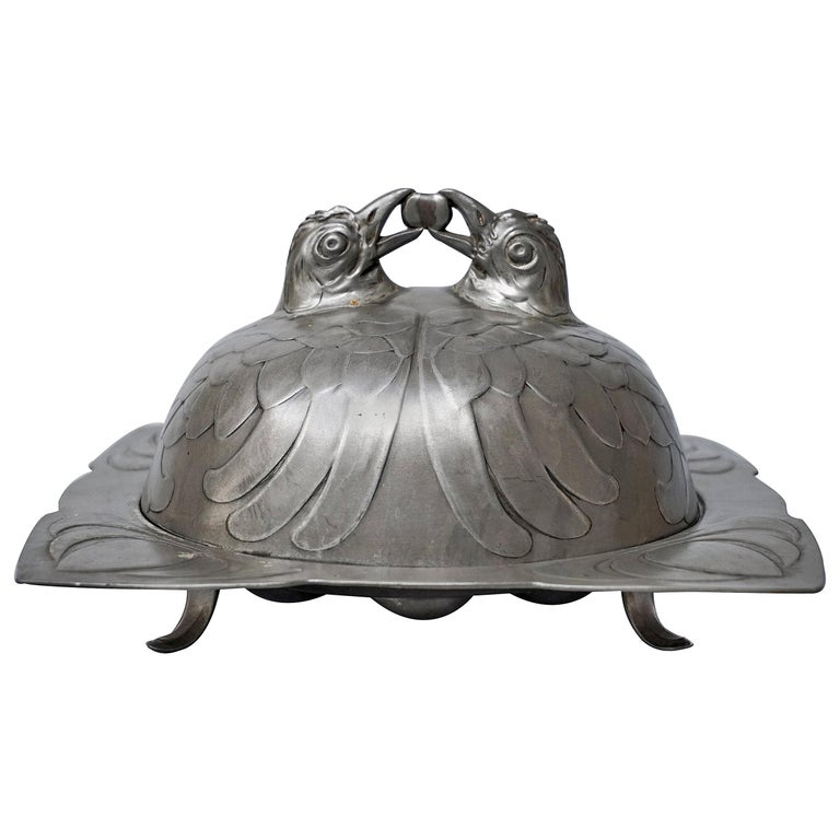 Art Nouveau Covered Pewter Osiris 909 Isis Easter Egg and Chicken Dish