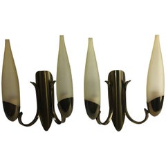 Pair of 1960s Italy Glass and Brass Two Tubes Sconces ON SALE