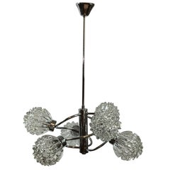Six-Arm Chrome Glass Richard Essig Sputnik Orbit Chandelier