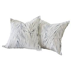 Vintage Shibori Dyed Textile Pillow with White Linen