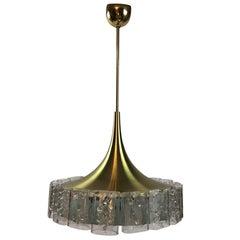 1960s German Doria Brass Textured Glass Chandelier