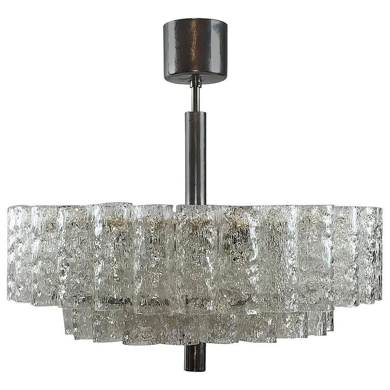 1960s German Doria Two-Tiered Glass Tube Chandelier