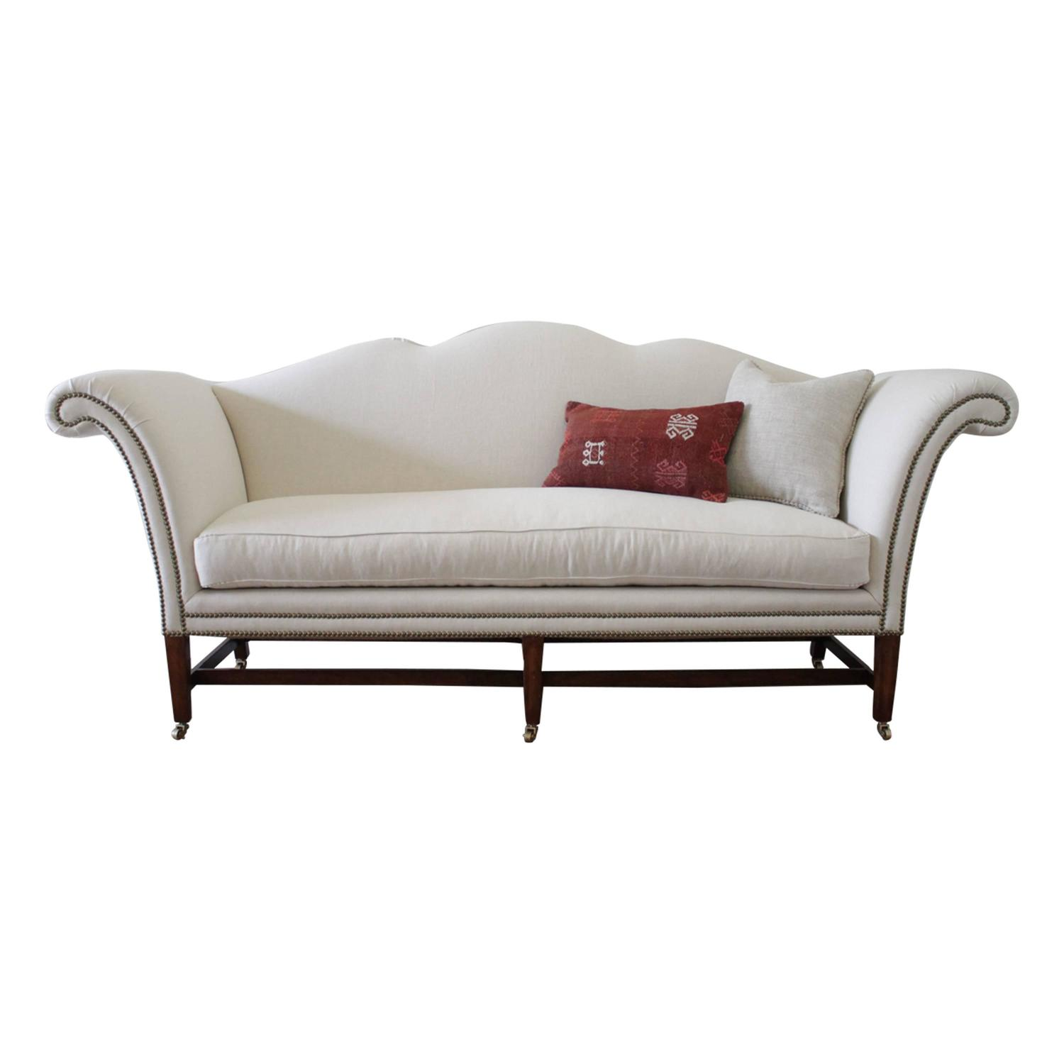 Vintage Chippendale Style Sofa Upholstered in Natural Linen at 1stdibs