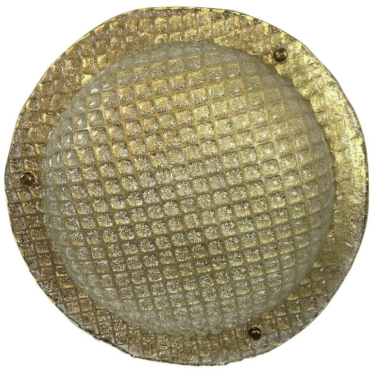 Huge 1970s Brass and Textured Glass Flush Mount