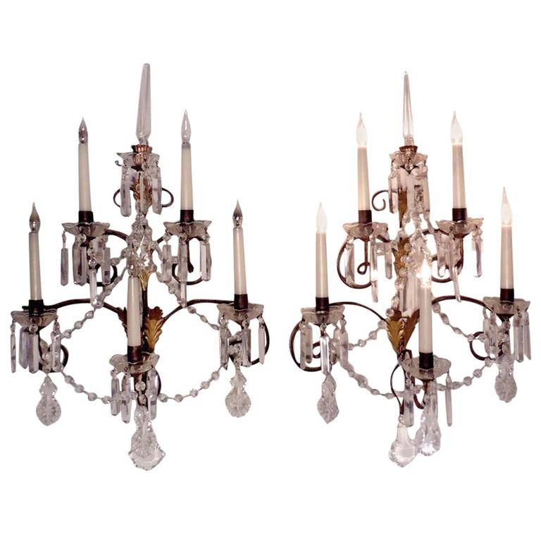 Pair of Very Large French Wall Chandeliers, Crystal Lustres and Chains