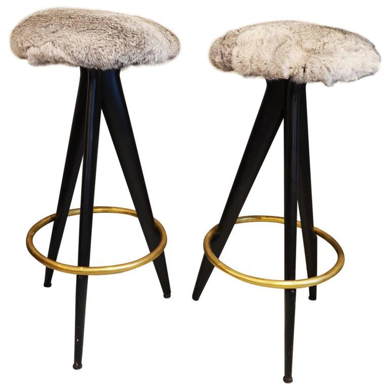 beautiful fur and brass bar stool at 1stdibs