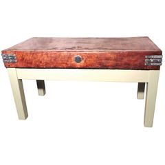 Vintage Butchers Maple Chopping Block on Painted Stand