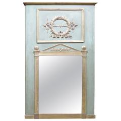 French Style Distressed Painted and Gilt Trumeau Mirror