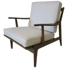 Italian Danish Styled Wood Framed Upholstered Lounge Chair