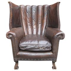 Grand English Leather Club Chair