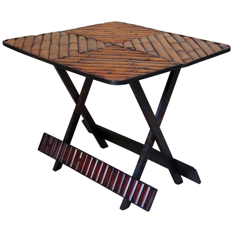 Vintage Folding Bamboo Side Table, France, circa 1950s For Sale