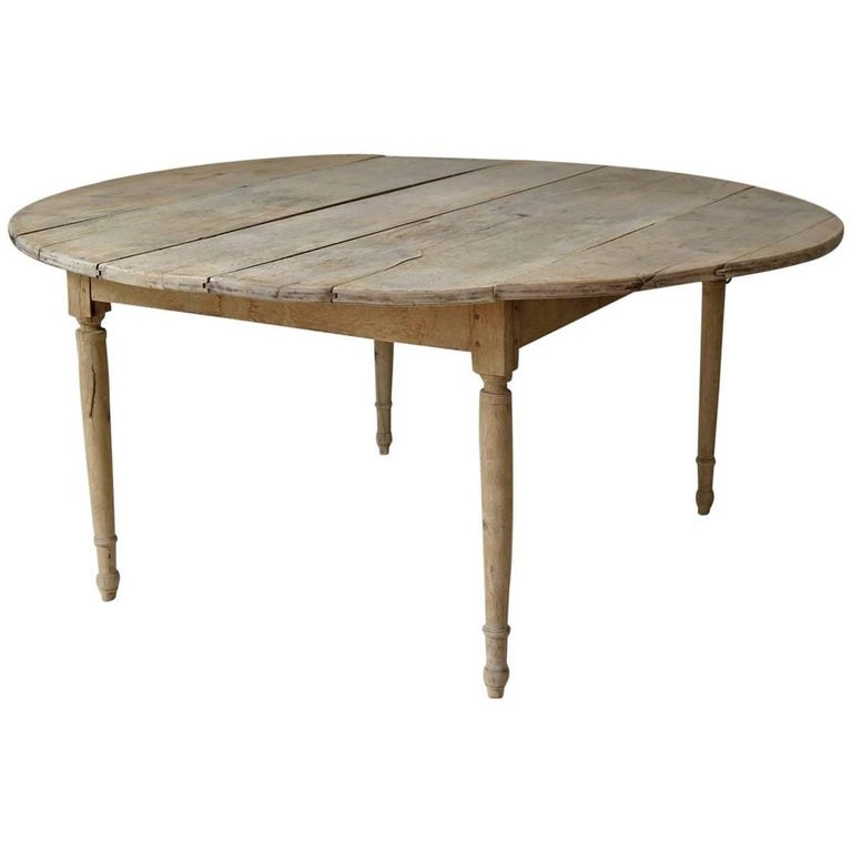Large Round 19th Century Drop Leaf Oak Dining Table From