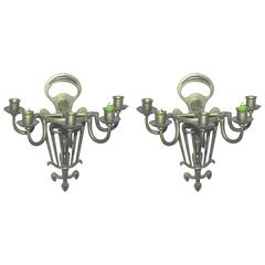 Rare Pair of Jugenstil Sconces in Bronze, circa 1900