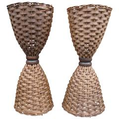 Pair of Wicker Hourglass Table Lamps