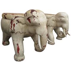 Monumental Pair of Elephant Tables