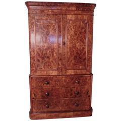 Victorian Burr Walnut Linen Press