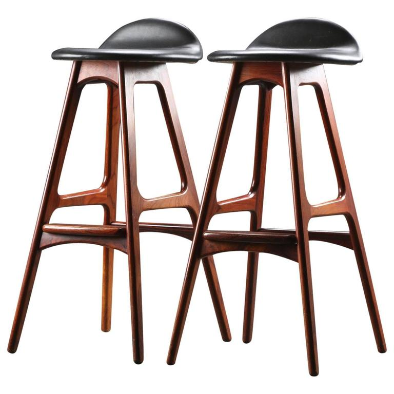 Rosewood and Leather Bar Stools by Erik Buch For Sale