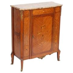 19th Century Marble-Top Floral Inlaid Mahogany Cabinet, circa 1860