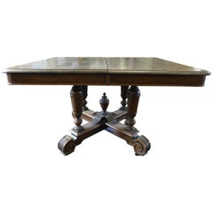 Antique French 19th Century Rectangle Extending Oak Table