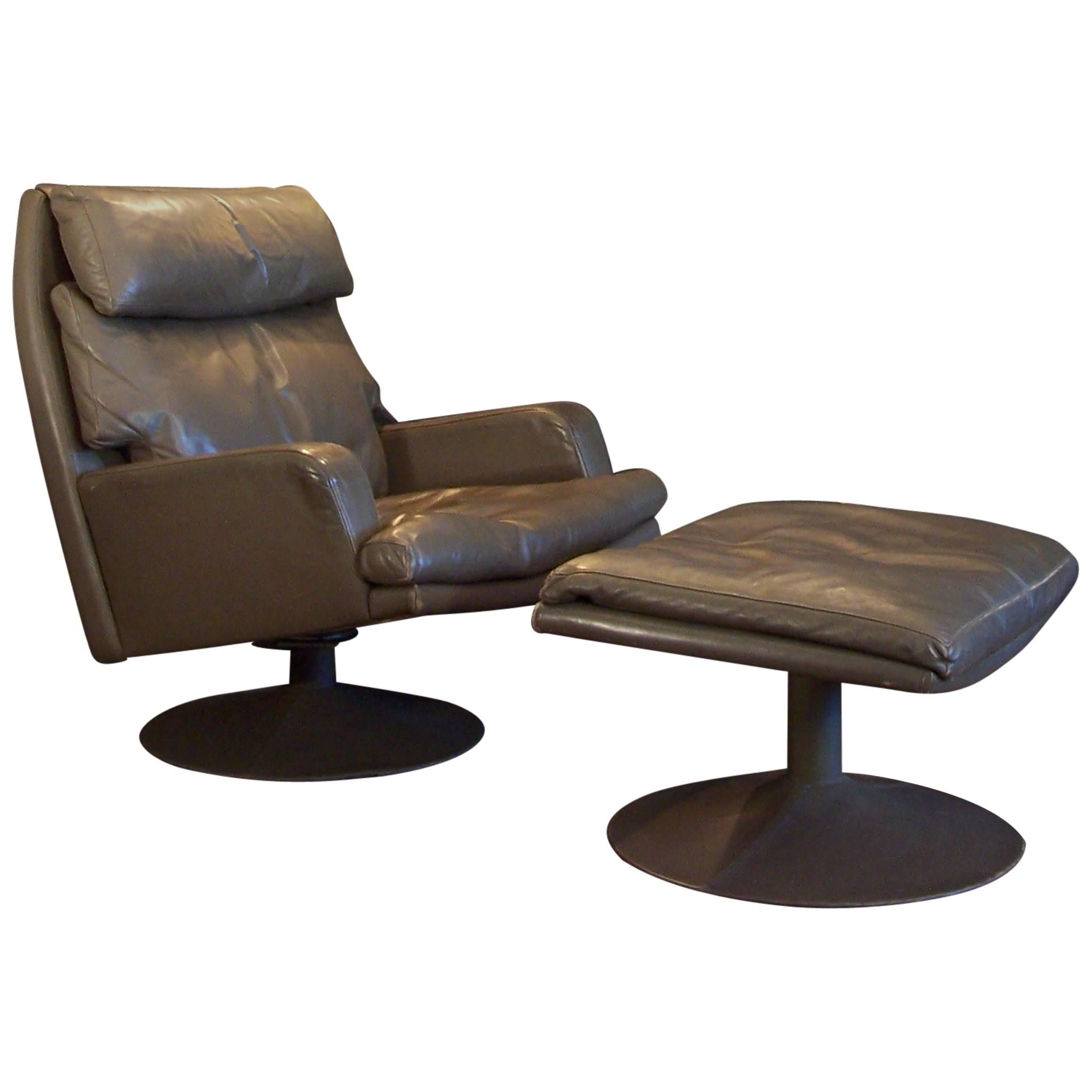 Large Vintage Leather Swivel Chair and Ottoman