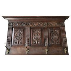 Large Antique and Quality Carved Wooden & Cast Bronze Wall Coat Rack with Shelf
