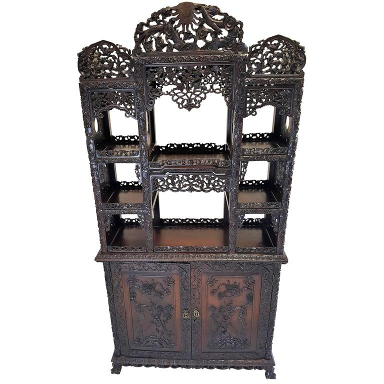 19th Century, Qing Dynasty Curio Cabinet For Sale