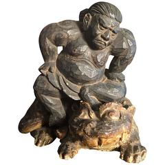 Early Japan Hand-Carved Sumo Wrestler Guardian Sculpture 19th Century