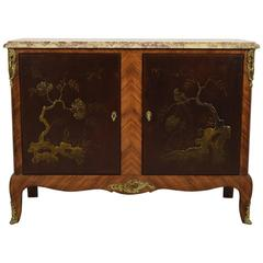 Antique French Louis XVI Chinoiserie Cabinet with Marble Top