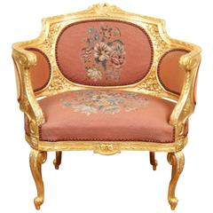 Early 20th Century Carved and Gilt Bergere Armchair