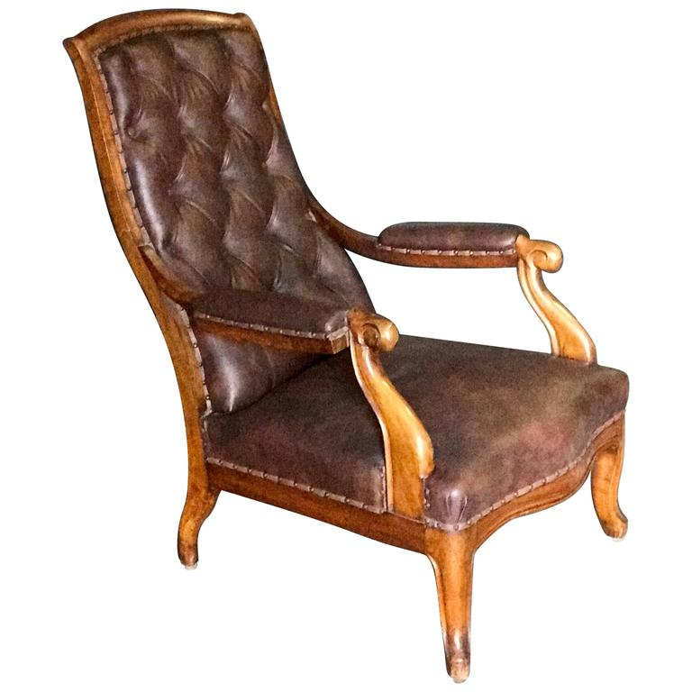 Italian Tufted Leather and Walnut Bergère 1