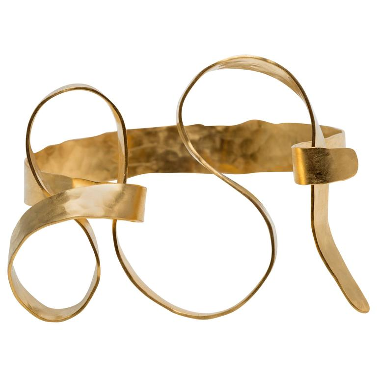 Gold Plated And Hand Hammered Bracelet By Jacques Jarrige For Sale At 1stdibs