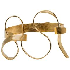 Gold-Plated and Hand-Hammered Bracelet by Jacques Jarrige