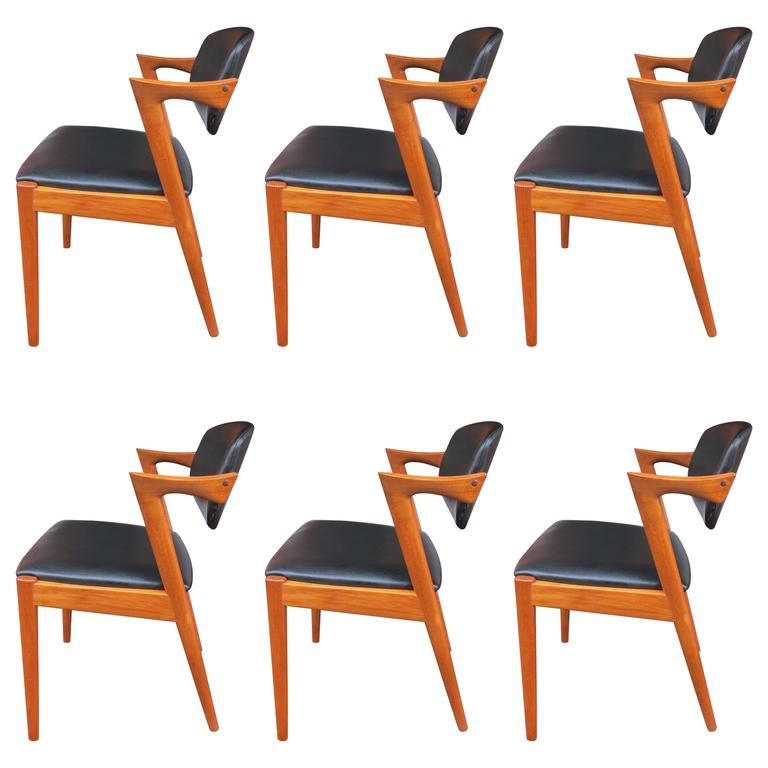 12 kai kristiansen chairs model 42 in teak custom upholstery available at 1stdibs - Kai kristiansen chairs ...