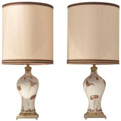Two French Mid-Century Design, Table Lamps Bronze and Porcelaine de Sèvres