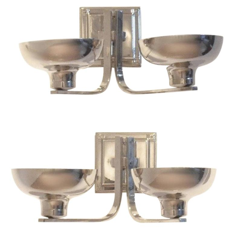 Set of Two Belgian Art Deco Nickeled Metal Classic Shaped Wall Sconces Lamps For Sale