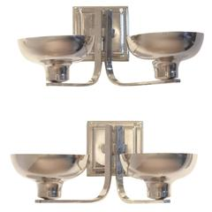 Set of Two Belgian Art Deco Nickeled Metal Classic Shaped Wall Sconces Lamps