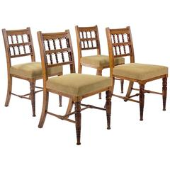 Set of Four Carved Oak Side Chairs by Bruce Talbert