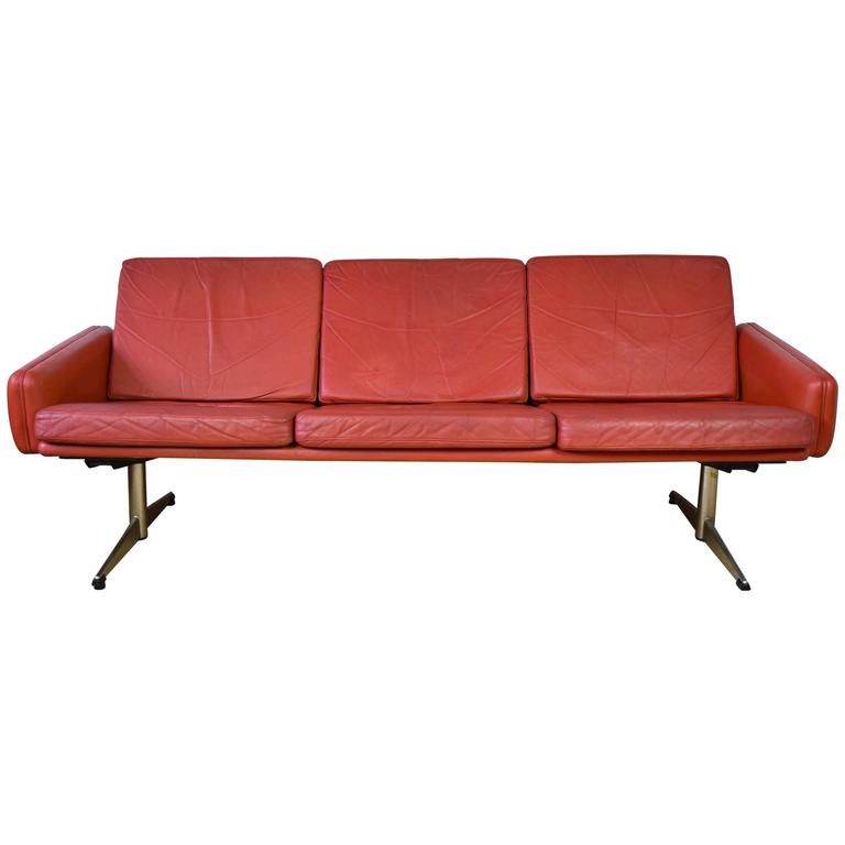 Danish Red Leather Sofa With Shaker Legs, 1960S For Sale At 1Stdibs
