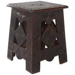 Russian Arts & Crafts Square Chip-Carved Pine Occasional Table