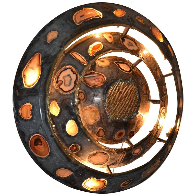 1970s Large Wall Light with Agates Inlaid by Henry Fernandez For Sale