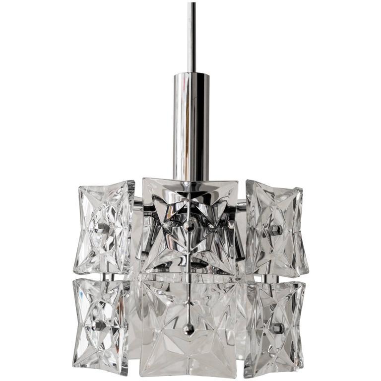 Beautiful Crystal and Chrome Kinkeldey Pendant